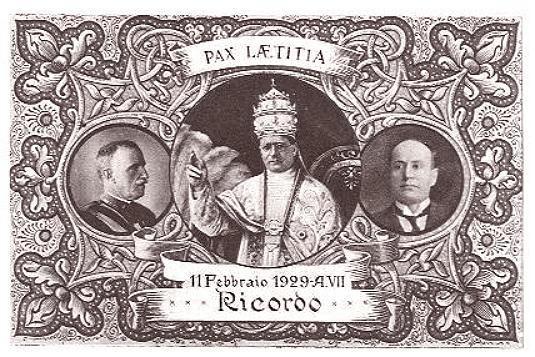 Postcard, 1929, Lateran Concordat, King Victor Emmanuel III, Pius XI, Benito Mussolini